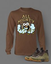 Mens Tee Shirt to match Air Foamposite One Olive Shoe Long Sleeve Brown t shirt