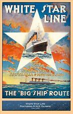 White Star Line RMS Olympic -  post- Titanic  Travel Poster 11 x 17