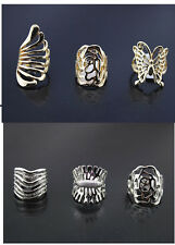 Lots 10/20/50pcs Rhinestone Mix Design silver/gold Plated Band Joint Mid Rings