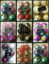 Christmas Tree Decorations LUXURY  Baubles 6 in a pack  80MM  MULTI  COLOURS NEW
