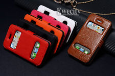 Luxury Genuine Cow Leather Skin Caller ID Flip Stand Case Cover For iPhone 4 4S