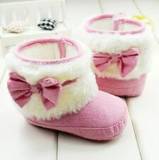Baby  Girl Winter Bow Warm Pink boots Toddler crib Shoes size 0-6-12-18 months
