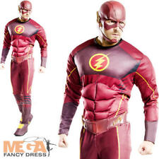 Deluxe The Flash Mens Fancy Dress Muscle Superhero Comic Adults Costume Outfit