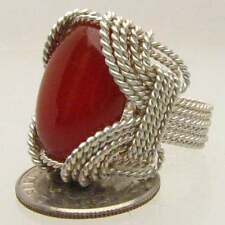 Wire Wrapped Sterling Silver Handmade CarnelianRing