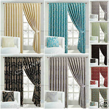 New Jacquard Curtain , Fully Lined Ready Made  Pencil Pleat Curtains+ 2 Tie Back