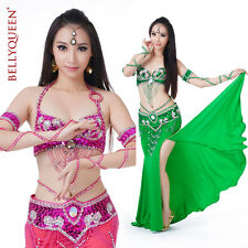 802# Womens Dancewear 3PC Belly Dance Costume Hip Scarf Top Bar 34B/C Skirt Suit