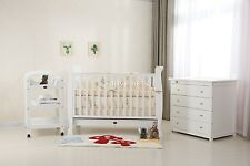 SLEIGH BABY COT PACKAGE COT/CRIB,CHANGE TABLE,CHEST OF DRAWER , MAT & MATTRESS