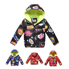 Children Boys Girls Thick Warm Hoodies Down Jacket Winter Coat 3 Color