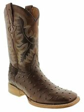 mens brown ostrich exotic crocodile western leather cowboy boots rodeo tan sole