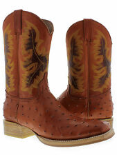 mens cognac brown ostrich crocodile western leather cowboy rodeo boots tan sole