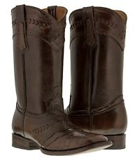 mens brown distressed leather cowboy boots crocodile belly alligator western