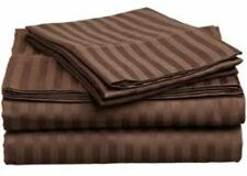 STRIPE CHOCOLATE 100%EGYPTIAN COTTON 1000TC COMPLETE BEDDING CHOOSE SIZE & ITEM