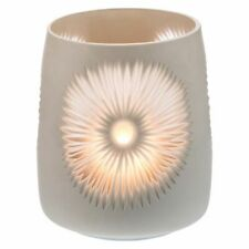 NEW Casa Uno Flower Cut Glass Candle Holder, White
