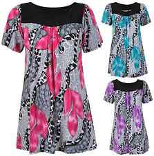Womens Floral Print Ladies Short Sleeves Long Smock Tunic T-Shirt Top Plus Size