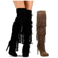 Black Nude Thigh high Suede Fringes Boots Stiletto Heel Pointy toe Women's shoes