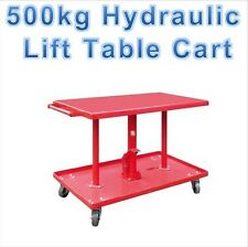 500kg Hydraulic Load Lift Repair Work Bench Table Stand Cart Trolley Mover Dolly