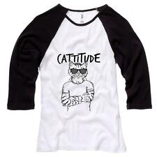 Cattitude Womens Baseball Shirt Cats Humor Soft Comfy Top 100% Cotton