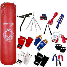 TurnerMAX 13 Piece Boxing Set 4ft Red Filled Heavy Punch Bag Bracket Gloves MMA