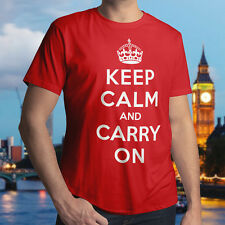 Keep Calm And Carry On Phrase Graphic Mens Unisex Cotton Crew Neck T-Shirt Tee