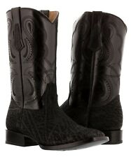 mens black buffalo bull bison square leather western cowboy boots exotic rodeo