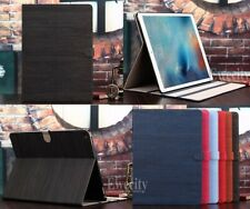 Folio Wood Pattern Stand Leather Smart Auto Sleep/Wake Case Cover For Apple iPad