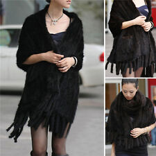 Top Quality Real Knitted Mink Fur Stole Cape Long Shawl Womens Coat Black Shawl