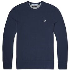 Fred Perry Sweatshirt Pique Crew Neck 100% Cotton Authentic M7270-395 BLUE