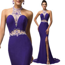 Halter Sexy Women Beaded Long Wedding Bridesmaid Gown Party Evening Prom Dress
