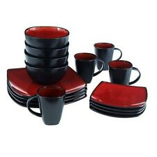 Square Dinnerware Set Dinner Plates Mugs Dishes Bowls Kitchen Stoneware Service