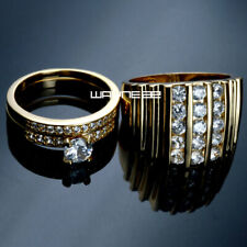 HIS HERS MEN'S WOMEN'S Gold filled WEDDING ENGAGEMENT RING BAND SET R117/280