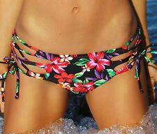 Floral Bikini Bottom - Strappy Side Tie - (Scrunch or NO Scrunch) - New
