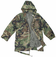 US Army Woodland Camo Zip Fronted Combat Field Jacket Parka With Hood And Lining