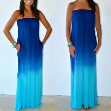 Karissa Strapless Blue Ombre Tie Dyed Maxi Dress Jersey Knit Raviya COUTURE S-L