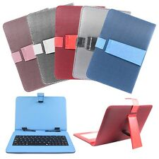 "9"" PU Leather Case + Micro USB Keyboard With Stand for Android Tablet PC Cover"