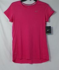 NIKE WOMEN'S DRI-FIT MILER RUNNING CREW-NECK TOP SHIRT PINK #717419-NWT