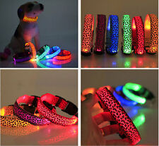 Adjustable Pet Dog Collar LED Glow Night Light Safety Belt Nylon S M L XL