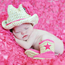 0-12Months Cowboy Outfit Photography Prop Costume Or Baby Gift Crochet Hat Boots