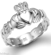 Ladies White Gold Claddagh Ring with Celtic Band 10k 14k