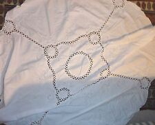 """WHITE TABLECLOTH COTTON EMBROIDERED CROCHET LINEN ROUND TABLE CLOTH 66"""" DIA"""