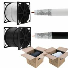 500 ft 1000ft RG6 Coaxial Cable Quad Shield 18 AWG Coax Satellite TV Black White