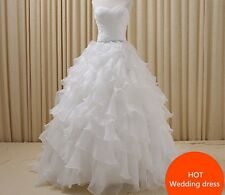 New Layer White Ivory Wedding Dress Bridal Gown Custom Size 6/8/10/12/14/16/18+