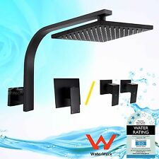 WELS Brass Square Shower Head Rose Gooseneck Wall Arm Mixer Tap Matt Black