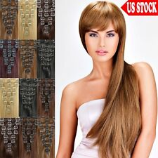 "Premium Quality 20"" 22"" Clip In Remy Human Hair Extensions Full Head US Stock C3"