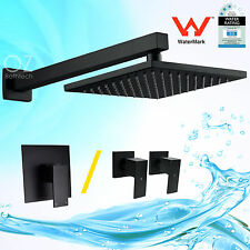 "WELS 8"" Brass Square Shower Head & Wall Arm Mixer / Cold Hot Tap Set Matt Black"