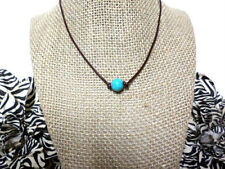 Turquoise Bead Genuine Leather Cord Choker Necklace, Sliding Knot
