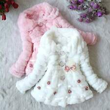 Nice Children Girls Faux Fur Cotton Fleece Lined Coat Winter Outerwear Jacket