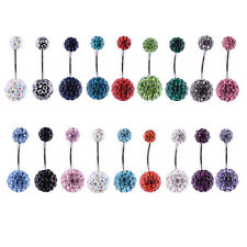 14G Stainless Steel Double Crystal Disco Ferido Ball Navel Belly Button Ring