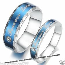 Forever Love Blue Rings Promise Valentine Gift For Her Him Wife Couple Men Women