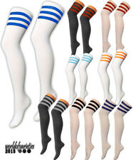 Ladies 3 Stripes Referee OTK Socks Over The Knee Thigh High Long Socks Size 4-6