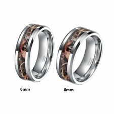 Silver Tungsten Withered Grass Camouflage Camo Band Ring Size 5-10 Half Size